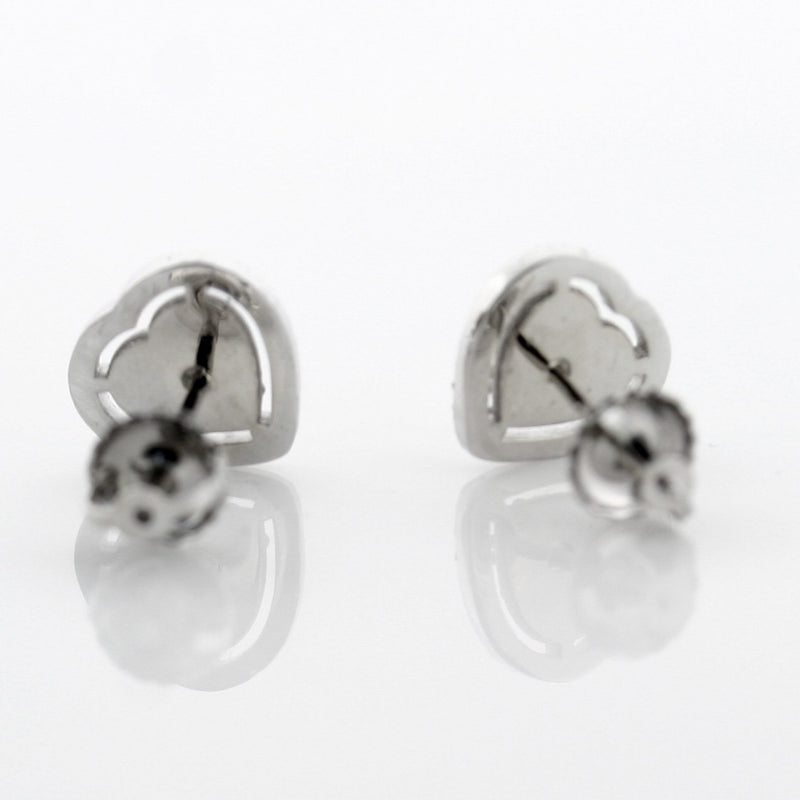0.45 carat Diamond Heart Stud Earrings 14k White Gold Screw Back - Thenetjeweler by Importex