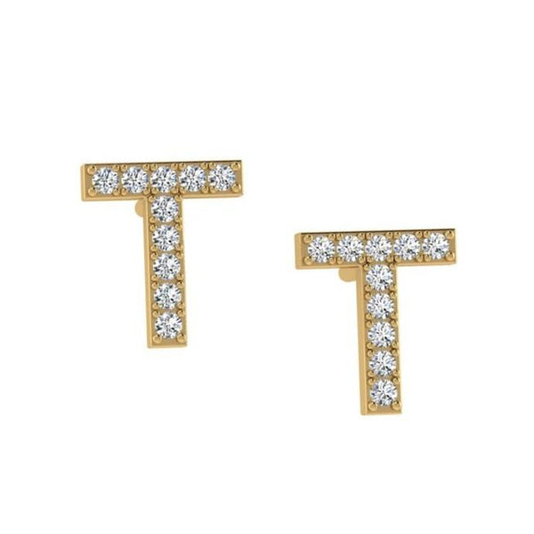 14K Gold Diamond Initial Earrings - Thenetjeweler by Importex