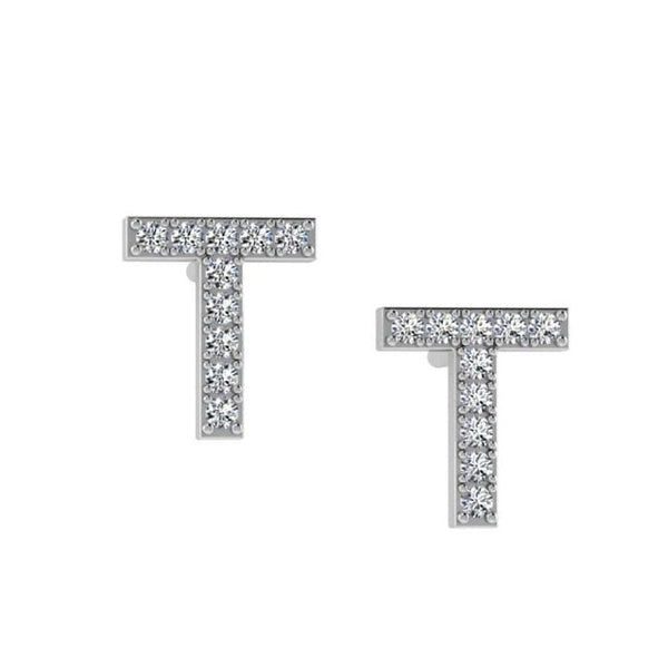 Diamond Initial Earrings 14K Gold - Thenetjeweler