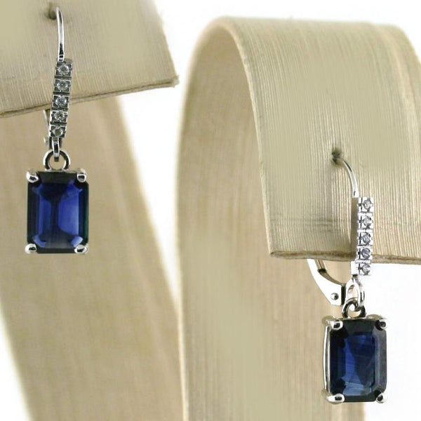 Emerald Cut Sapphire and Diamond Earrings - Thenetjeweler by Importex