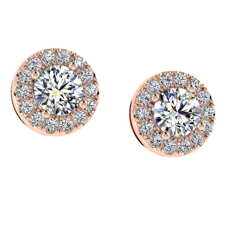 Diamond Halo Stud Earrings In 14k White Gold (0.47 carat TW) - Thenetjeweler
