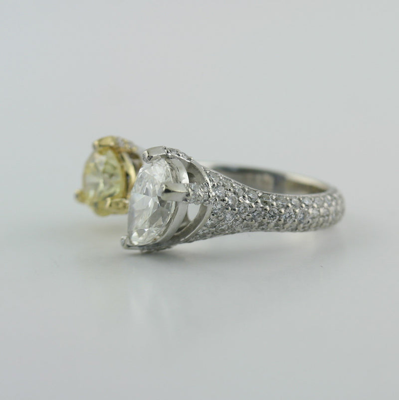 Open Diamond Ring Two Tone Gold 18K - Thenetjeweler