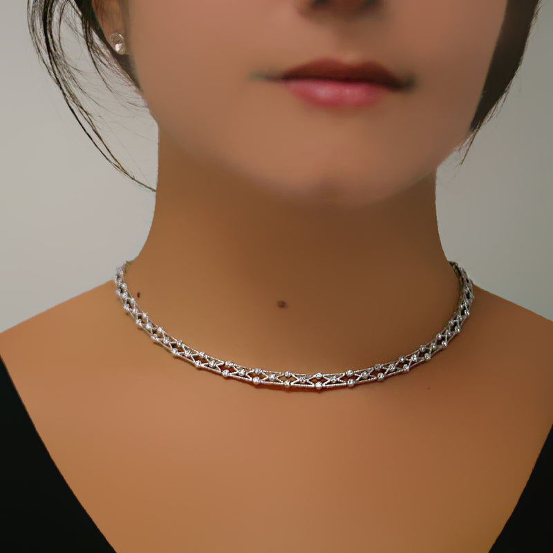 Diamond Collar Necklace 14K White Gold - Thenetjeweler by Importex