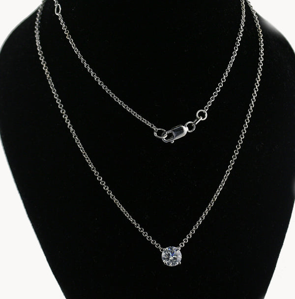Round Diamond Solitaire Pendant Necklace - Thenetjeweler