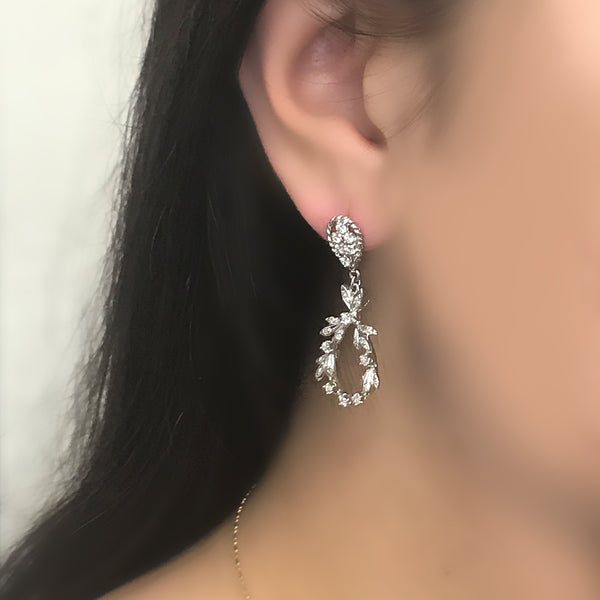 Diamond Drop Dangle Earrings 18K White Gold - Thenetjeweler