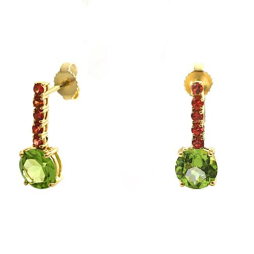 Orange Sapphire and Peridot Earrings 18K Yellow Gold - Thenetjeweler by Importex