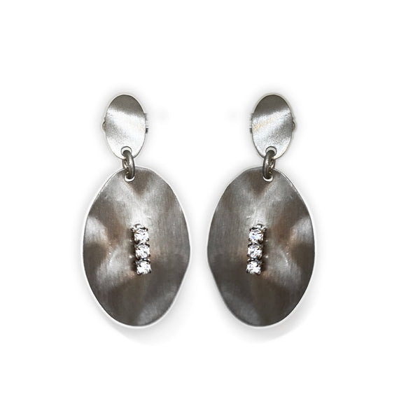 Italian Sterling Silver Hammered Drop Earrings