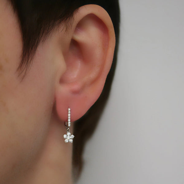 diamond flower earrings white gold