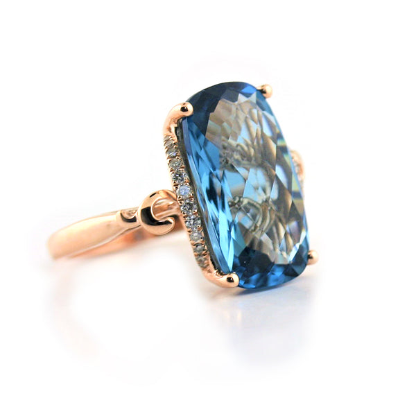 London Blue Topaz and Diamond Ring - Thenetjeweler