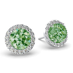 Emerald Diamond Halo Stud Earrings 18K White Gold - Thenetjeweler