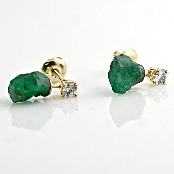Rough Emerald and Diamond Stud Earrings 14K Yellow Gold - Thenetjeweler