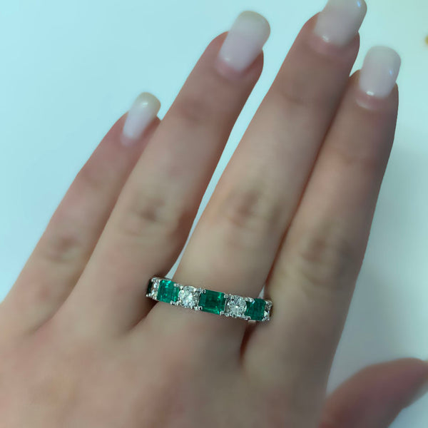Emerald and Diamond Eternity Ring White Gold - Thenetjeweler