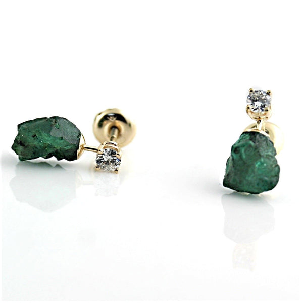 Rough Emerald and Diamond Stud Earrings 14K Yellow Gold - Thenetjeweler by Importex
