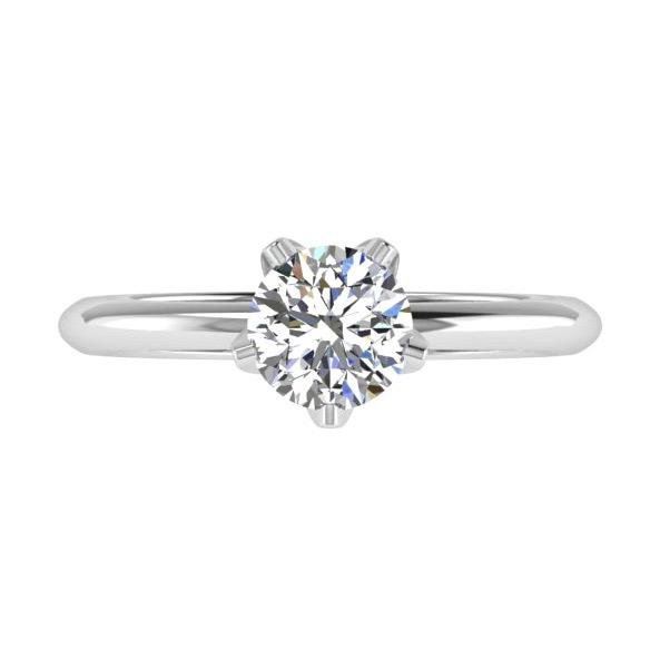 Engagement Ring - 5 Prong Solitaire Diamond Engagement Ring 18K Gold