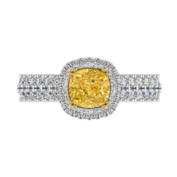 Double Row Cushion Halo Diamond Engagement Ring 18K Gold (1.15 CT. TW) - Thenetjeweler by Importex