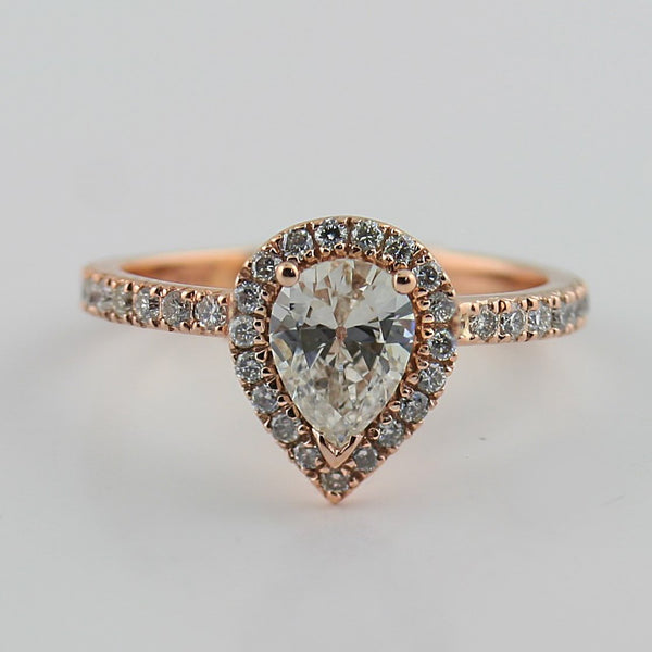 Pear Diamond Halo Engagement Ring 18K Pink Gold - Thenetjeweler