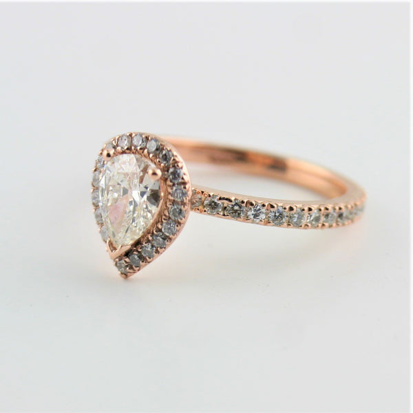 Pear Diamond Halo Engagement Ring 18K Pink Gold - Thenetjeweler by Importex