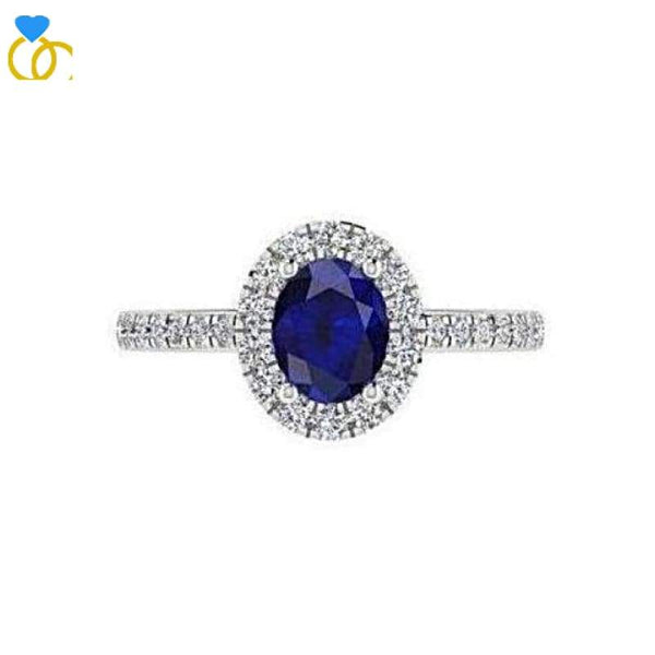 Sapphire Diamond Ring White Gold (0.26 carat t.w.) - Thenetjeweler