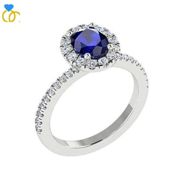 Engagement Ring - Sapphire Diamond Ring White Gold (0.26 Carat T.w.)