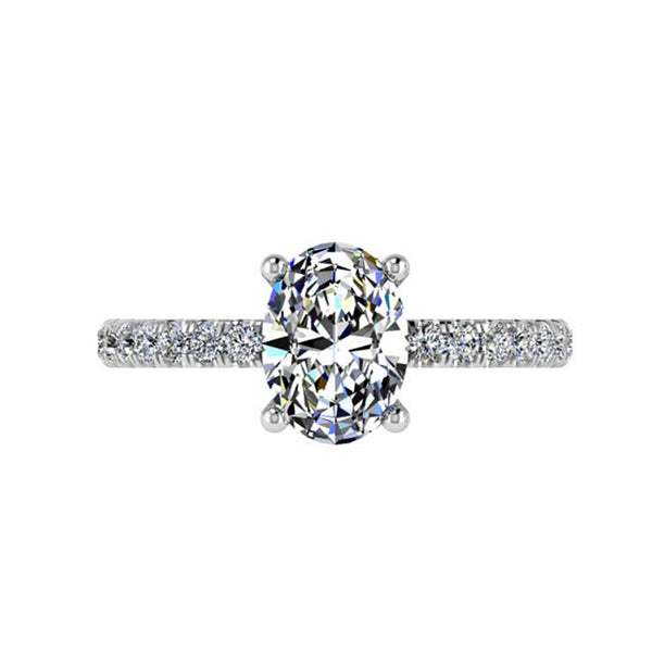 Oval Diamond Cathedral Style Engagement Ring