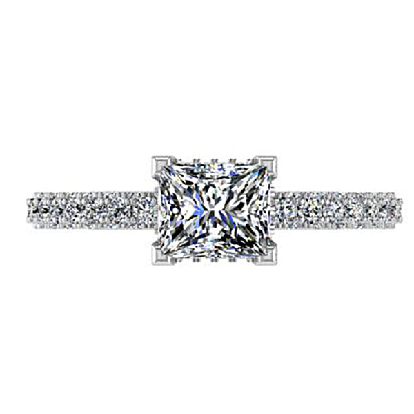 Princess-Cut Cathedral Setting Engagement Ring - Thenetjeweler