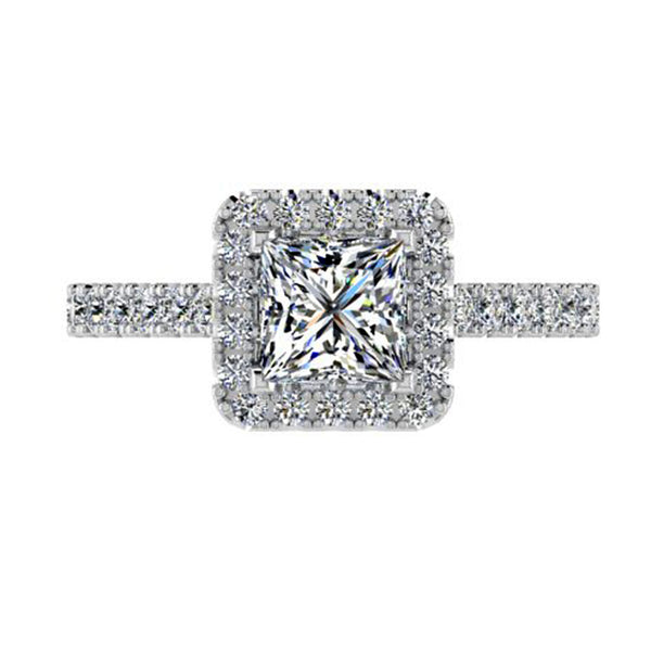 Large Princess cut halo diamond ring