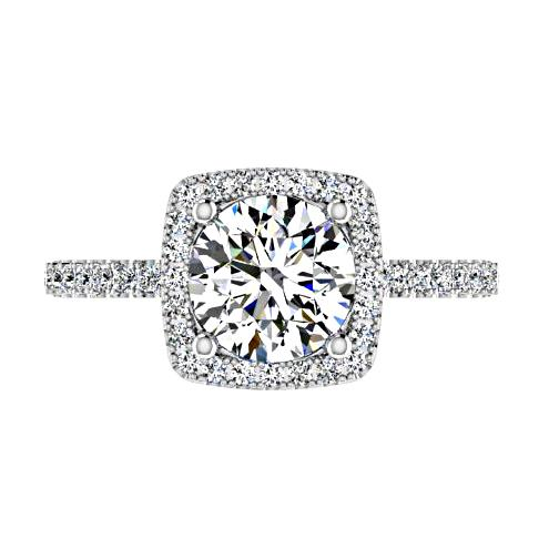 Round Diamond with Cushion Halo Engagement Ring 18K Gold - Thenetjeweler
