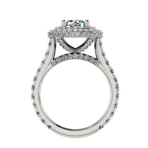 Double Halo Diamond Engagement Ring Setting 14K White Gold  1.46 cts - Thenetjeweler by Importex