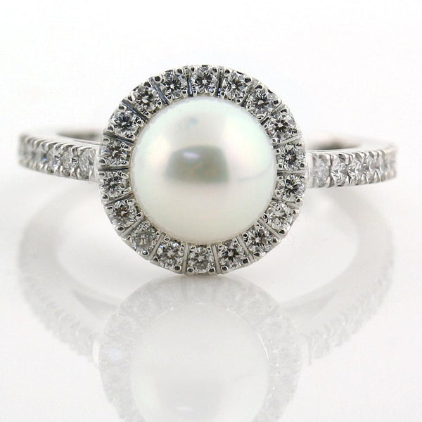 Freshwater Pearl Halo Diamond White Gold Engagement Ring - Thenetjeweler by Importex