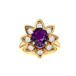 Amethyst and Diamonds Flower Ring 14K Yellow Gold - Thenetjeweler by Importex