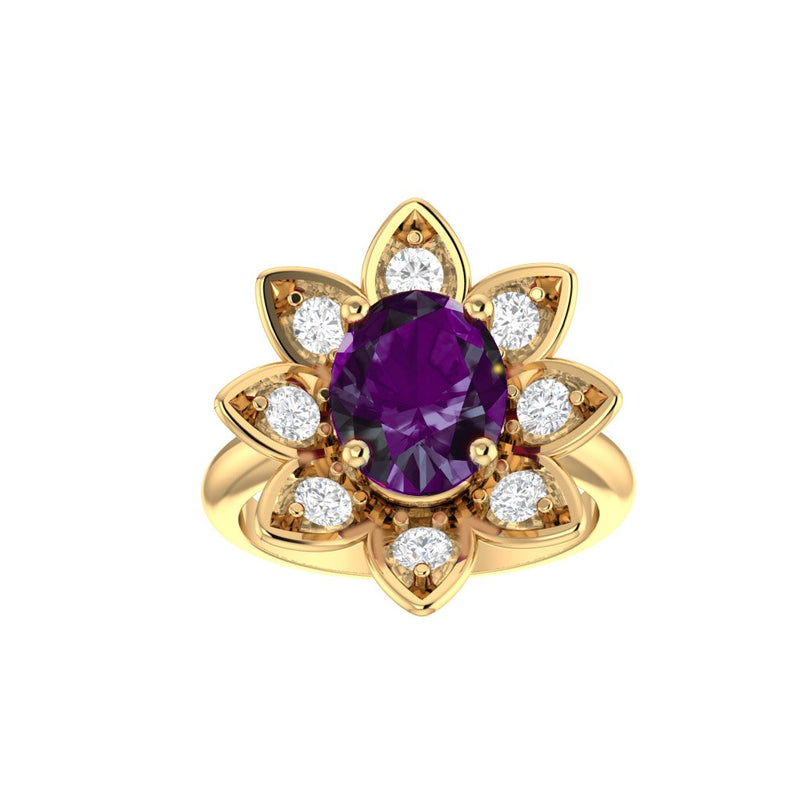 Amethyst and Diamonds Flower Ring 14K Yellow Gold - Thenetjeweler
