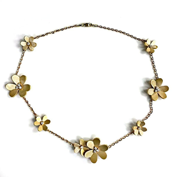 Flower Necklace with Diamonds 14K Yellow Gold - Thenetjeweler
