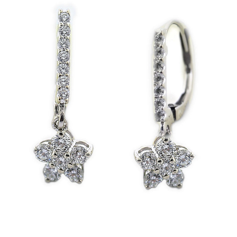 Diamond Flower Earrings White Gold - Thenetjeweler