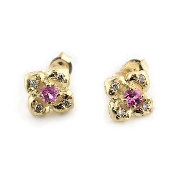 Small Gold Flower Stud Earrings 10K Pink Stone - Thenetjeweler