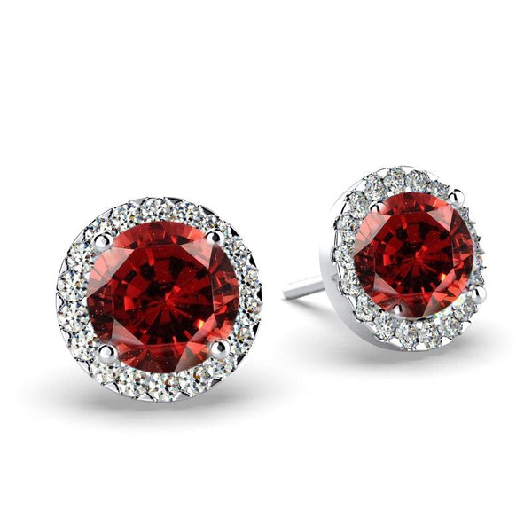 Diamond Garnet Halo Stud Earrings 18K White Gold Push Back - Thenetjeweler