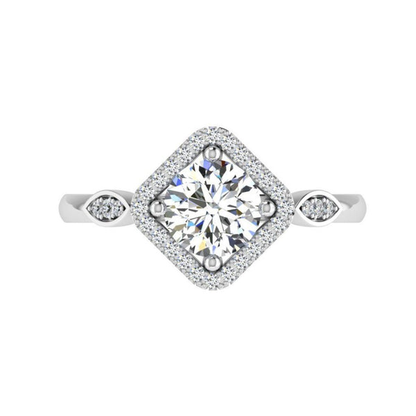 Diamond Halo Marquise Sides Engagement Ring - Thenetjeweler by Importex