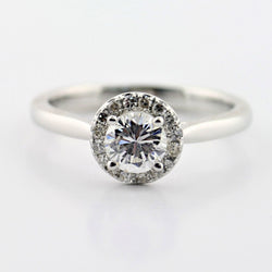 Platinum Diamond Halo Engagement Ring - Thenetjeweler
