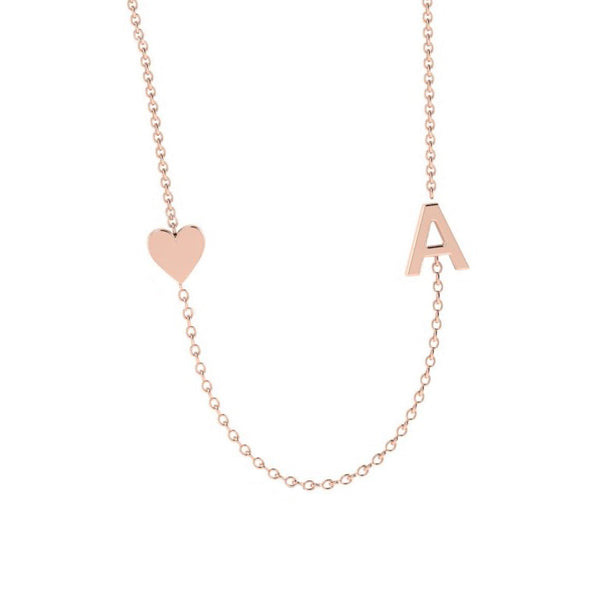 Sideways Initial Necklace 14k Gold - Thenetjeweler