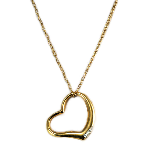 Open Heart Pendant 18K Gold 0.10 cwt Diamonds - Thenetjeweler