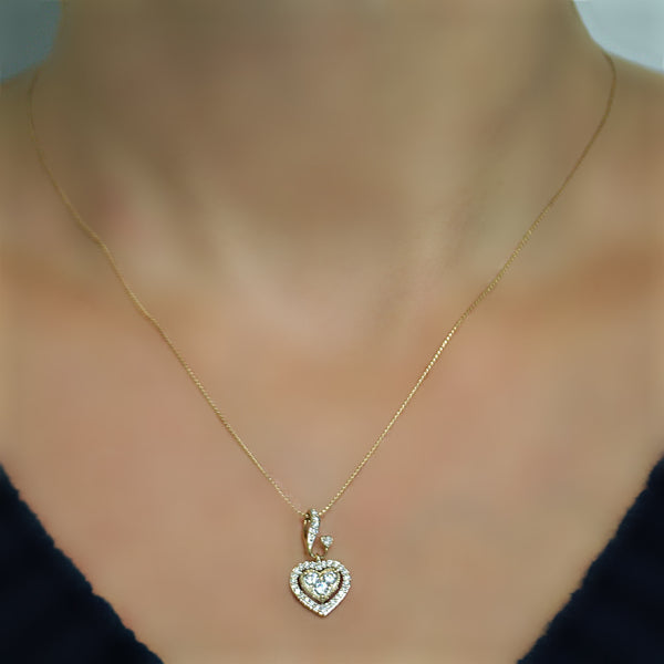 Diamond double heart pendant necklace