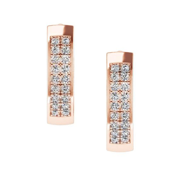 Huggie Hoop Earrings Rose Gold Two-Row Diamonds - Thenetjeweler