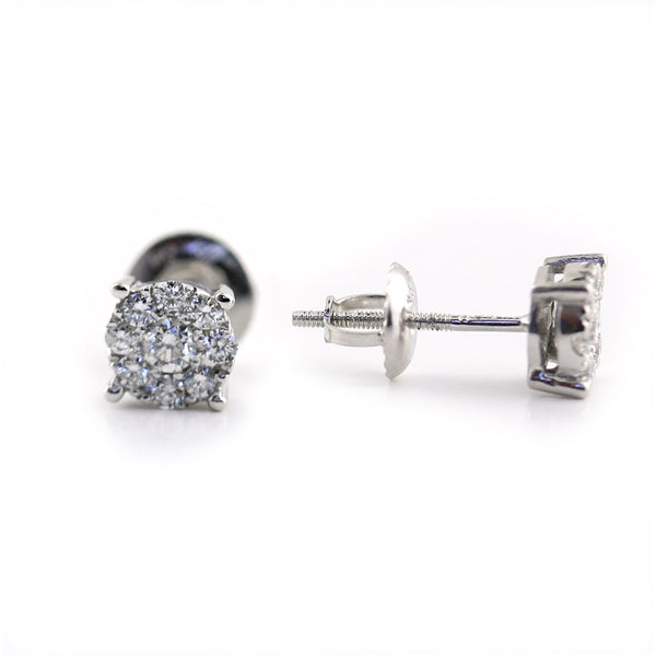 Round Illusion Diamond Stud Earrings - Thenetjeweler