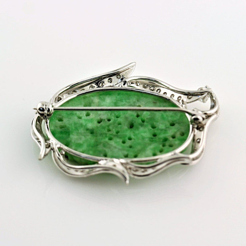 Natural Carved Jade and Diamond Brooch 14K White Gold - Thenetjeweler