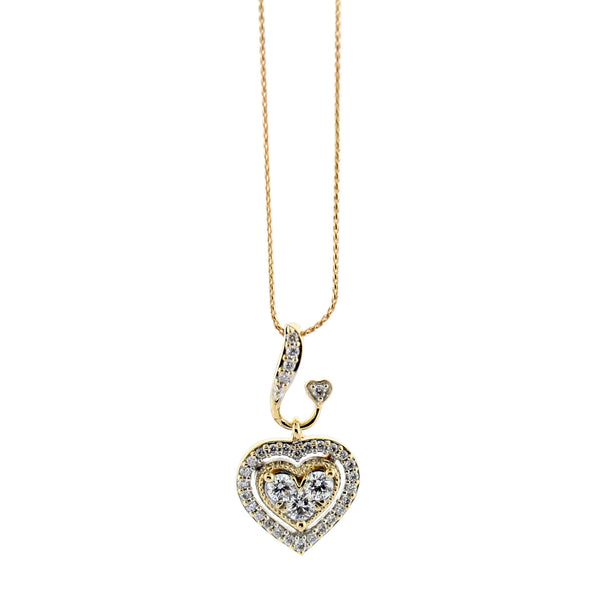 Diamond Double Heart Pendant Necklace - Thenetjeweler