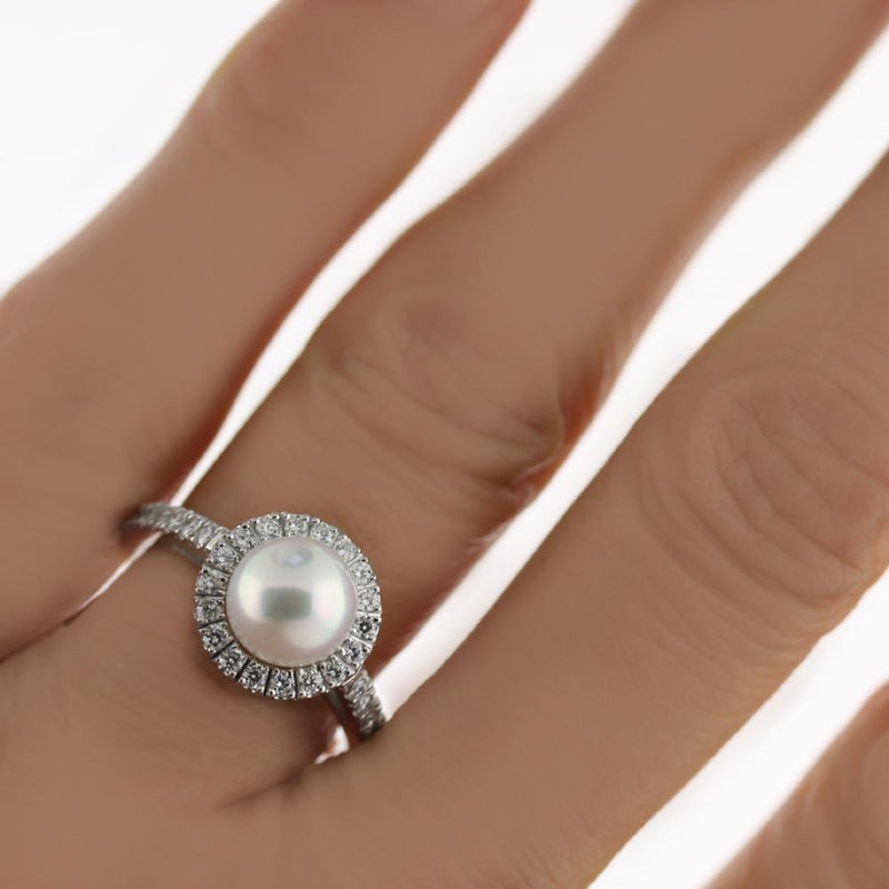 Freshwater Pearl Halo Diamond White Gold Engagement Ring - Thenetjeweler