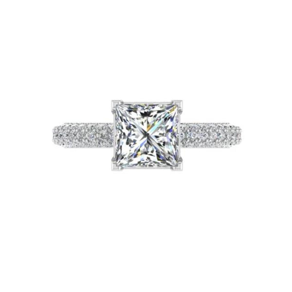 Princess Setting Diamond Engagement Ring 18K Gold (0.60ct.tw.) - Thenetjeweler