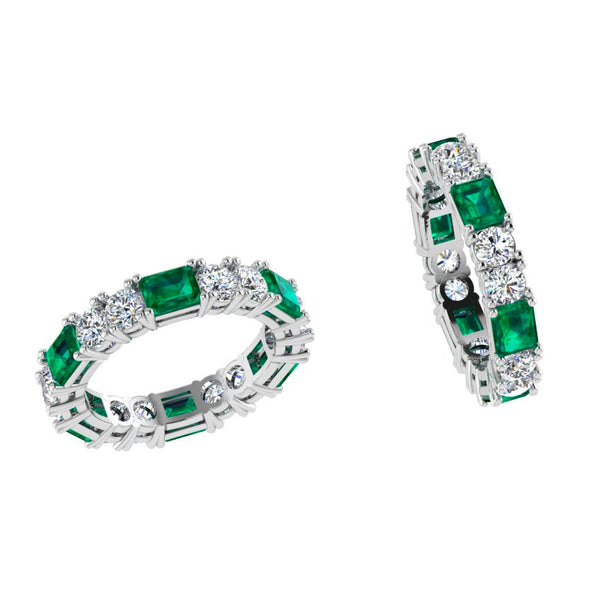 Emerald and Diamond Eternity Ring Band 18K White Gold - Thenetjeweler
