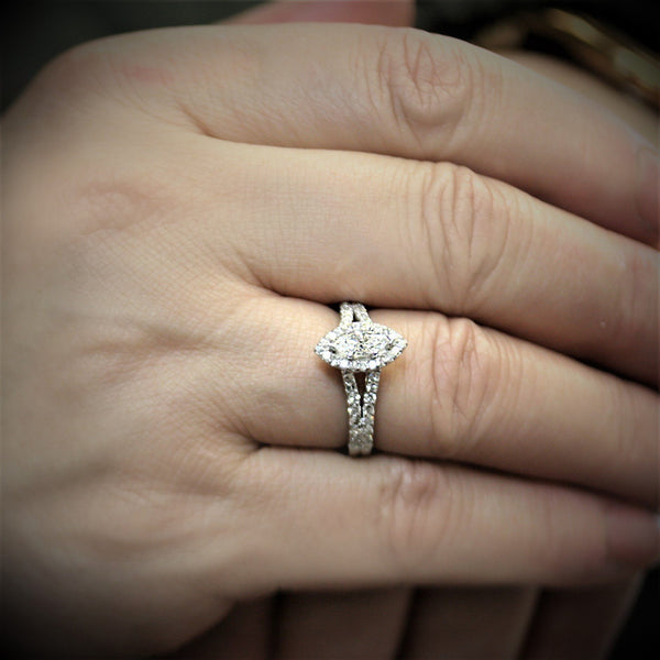 Marquise Halo Diamond Split Shank Engagement Ring 18K Gold - Thenetjeweler by Importex