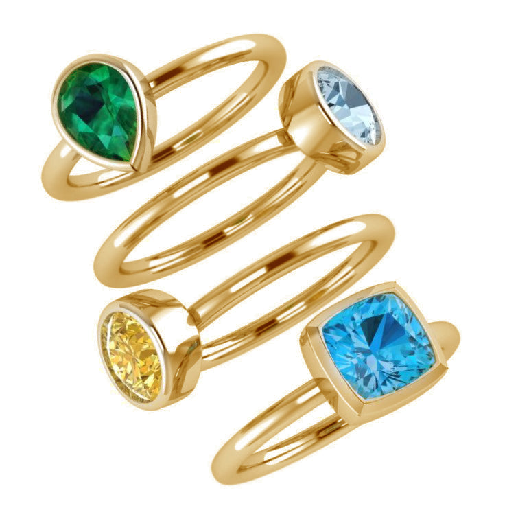 Birthstone Stacking Rings Gold - Thenetjeweler