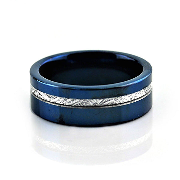 Blue Tungsten Ring with Meteorite Inlay Wedding Band for Man or Woman Unisex - Thenetjeweler